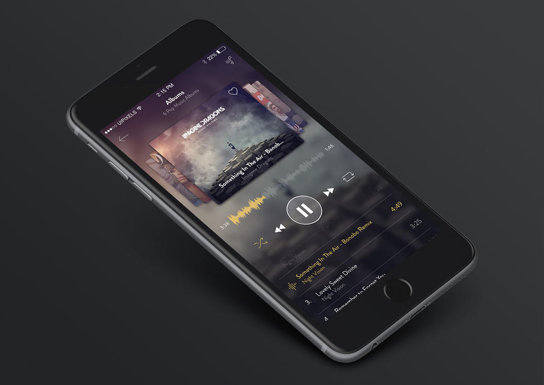 iphone 6 music app design psd by emrah demirag on deviantart. Black Bedroom Furniture Sets. Home Design Ideas