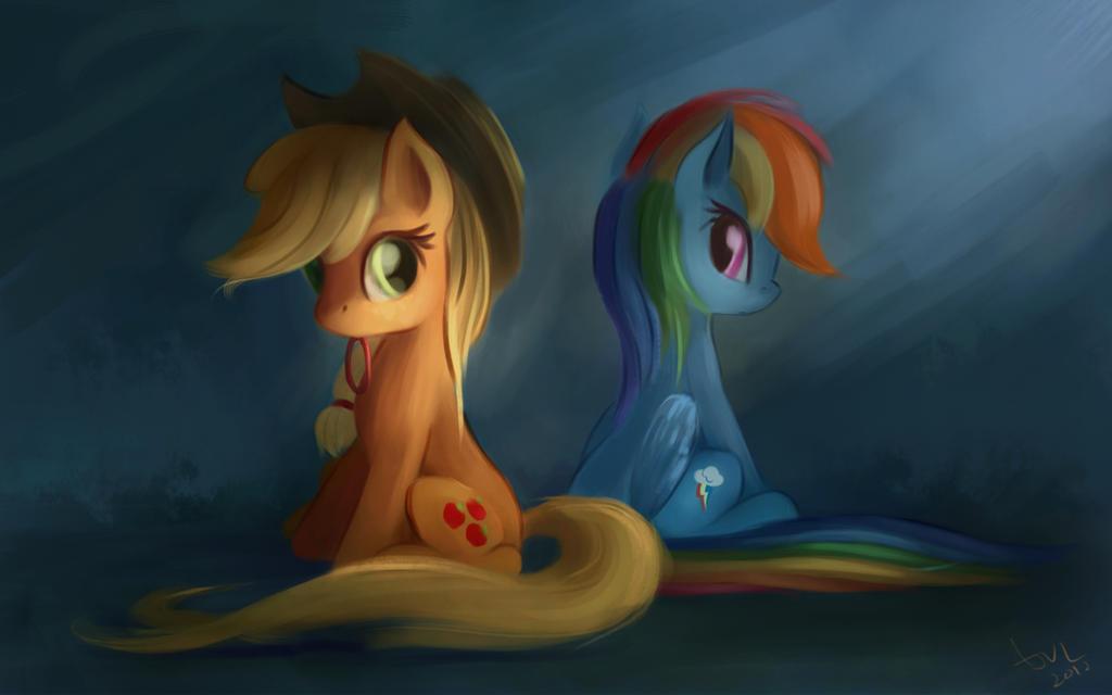 AppleJack and Rainbow Dash - SpeedPaint #1 by aJVL