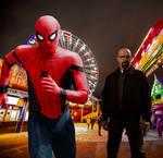 Spider-man, at an amusement Park, escaping danger