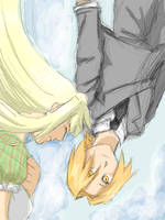 Ed and Winry Falling by CeruleanSan