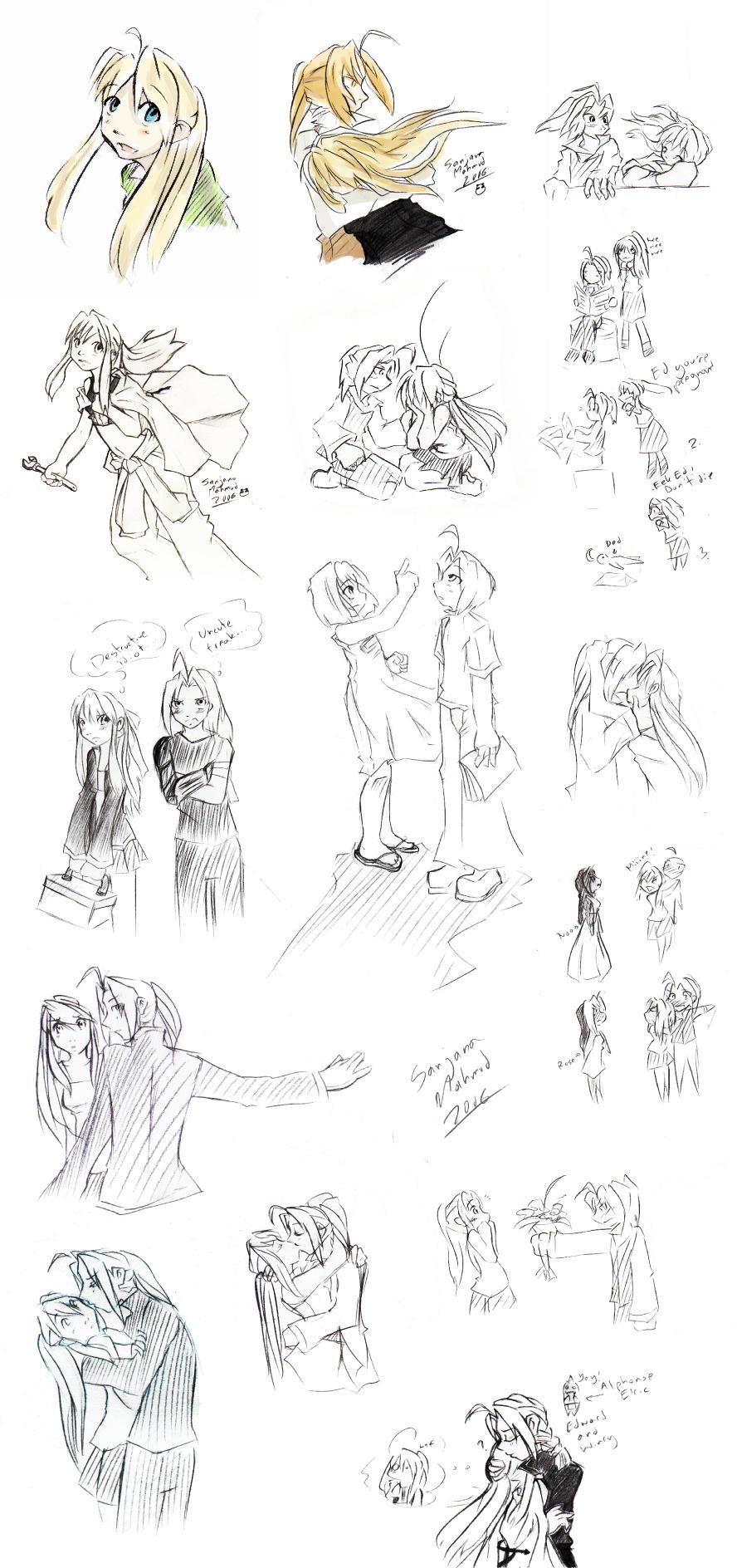 EdWinry Sketchdump by CeruleanSan