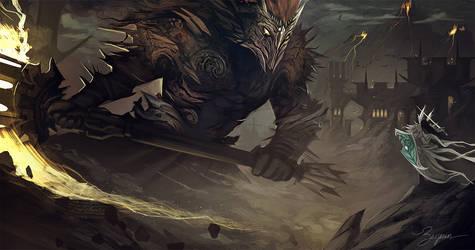 Morgoth vs Fingolfin by Hyarion-art