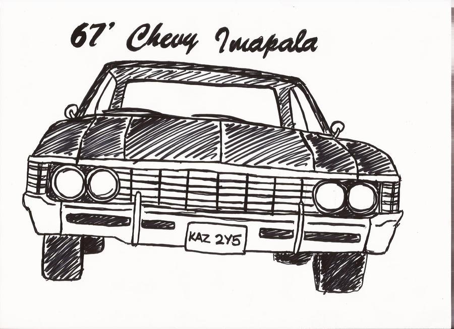 67 Chevy Impala Supernatural Drawing Sketch Coloring Page