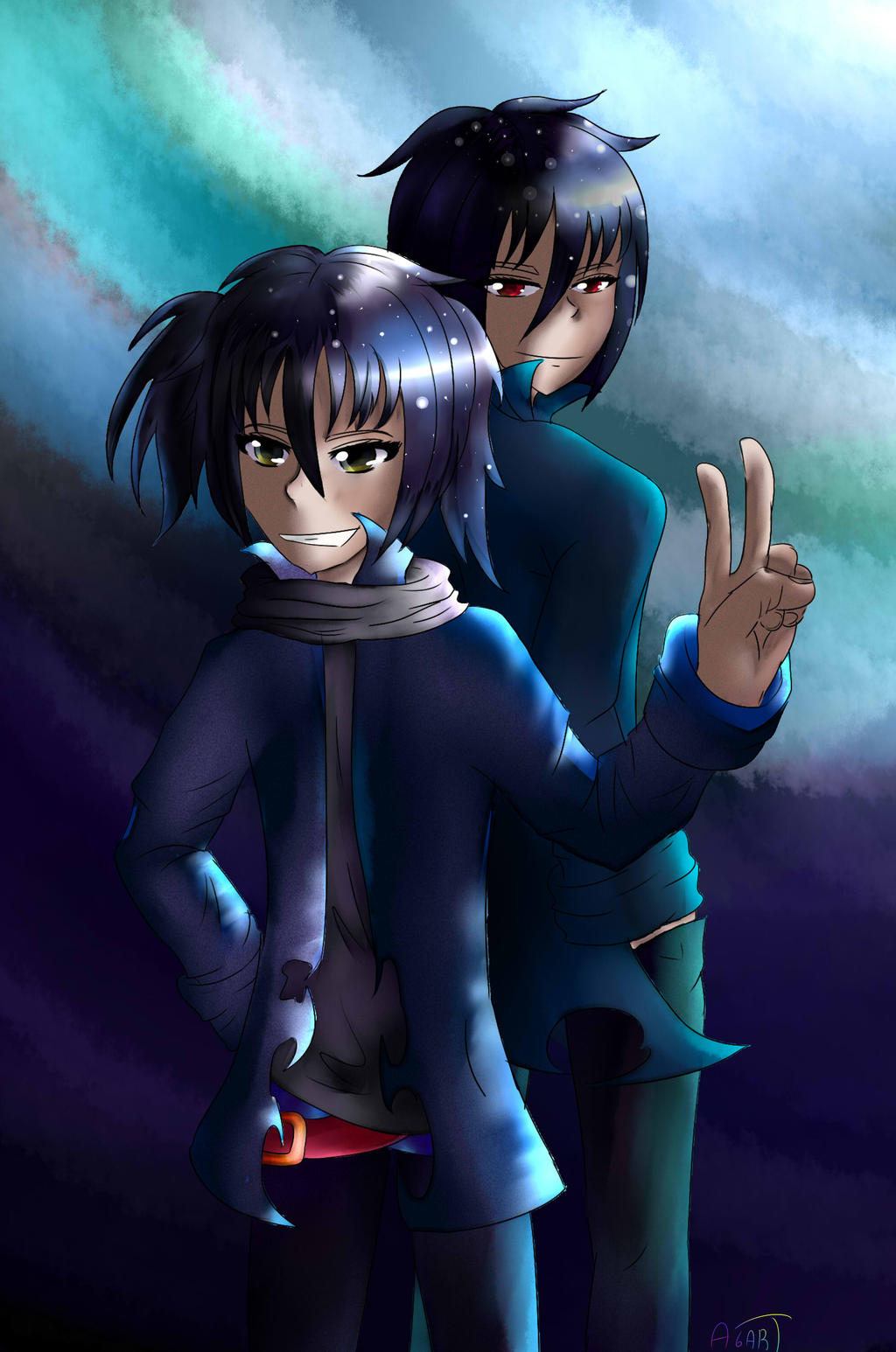 Metarune Yoru and Naito by Azazel6art