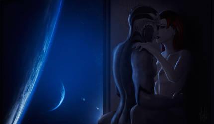 Mass Effect: Thane Krios and Shepard by Lara-Esori