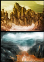 Landscape speedpaint concepts by MyBurningEyes