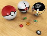 First 3D attempt: Pokeballs