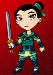 Battle Armor Mulan Chibi - ACEO