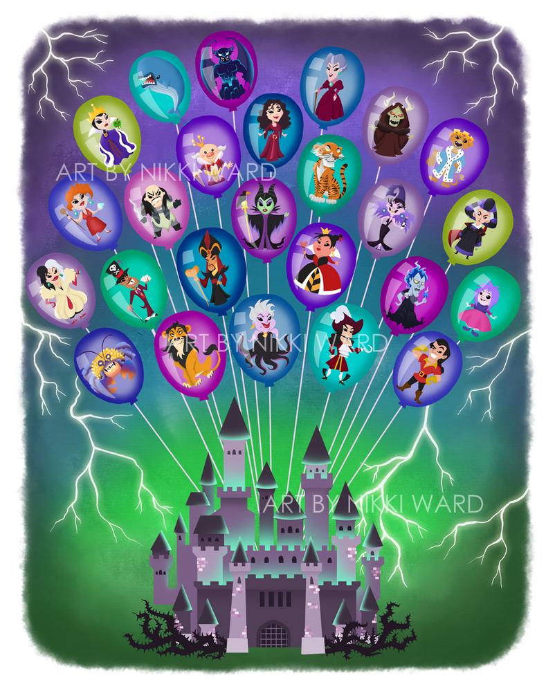 Disney Balloon Castle of Nightmares by NikkiWardArt