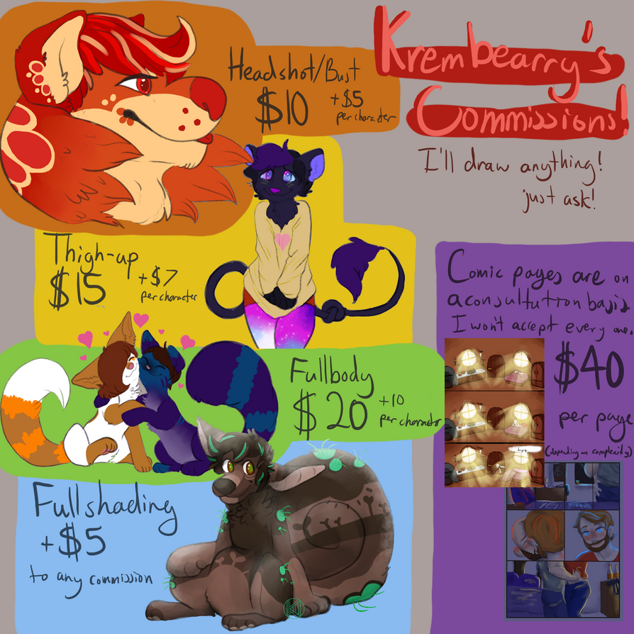 Commission Prices [Open] by Krembearry