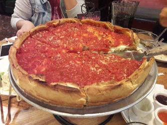The deep dish pizza