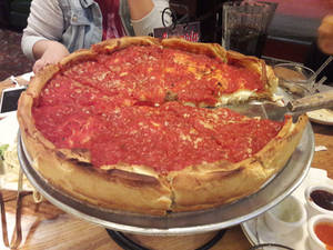 The deep dish pizza