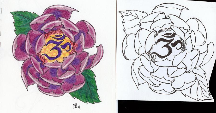 Lotus Om Tattoo Design by moonraven373