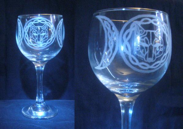 Triple Moon Celtic Wolf Glass by moonraven373