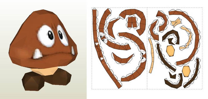 Papercraft template of Goomba from Super Mario