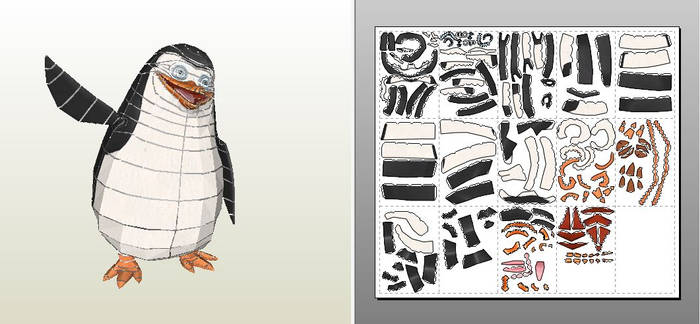 Papercraft template of Private penguin