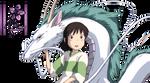 Render Chihiro y Haku El viaje de Chihiro