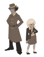 Noir Inspector Gadget and Penny by Nellufy