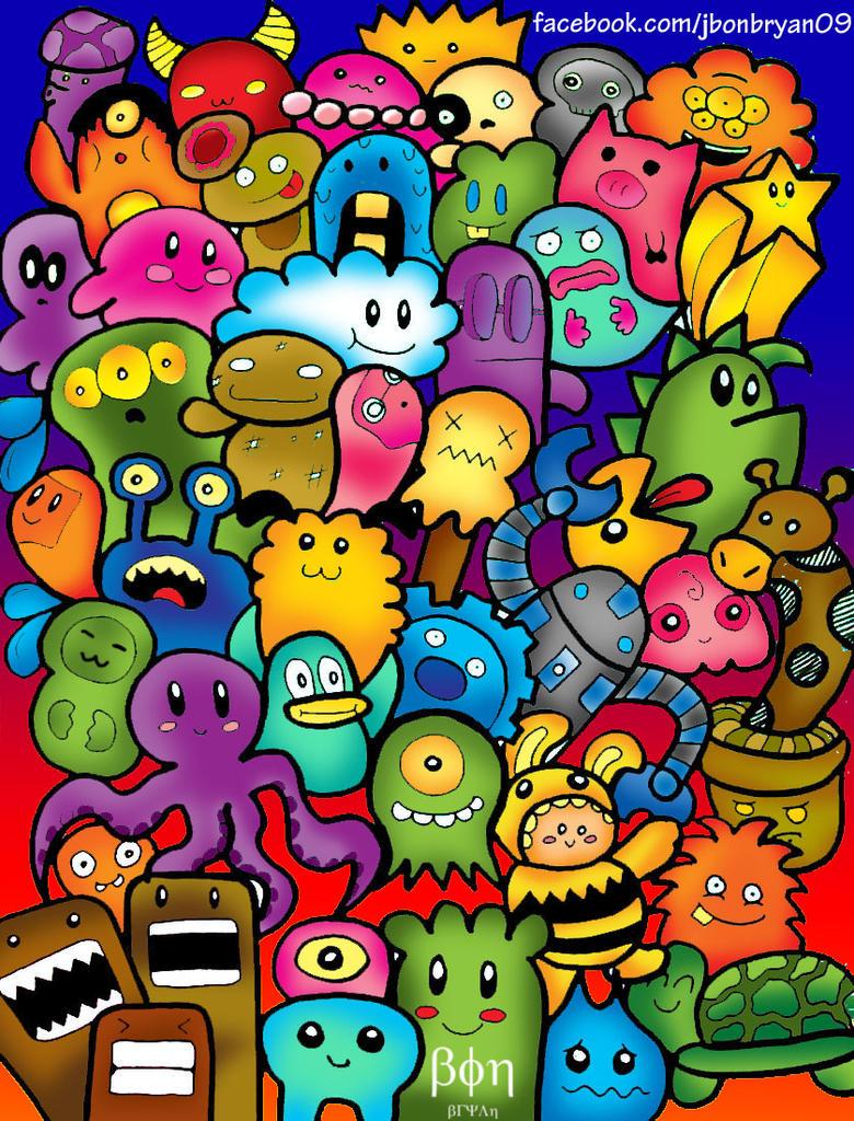 Cute Doodle Monsters Cute Doodle Monsters Colored