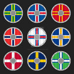 Heraldic Norse-style shields of the Viking Nations