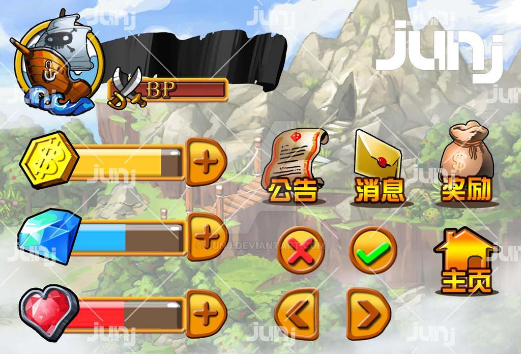 Game Character Design Apps : Ui design for pirate game app by junj on deviantart