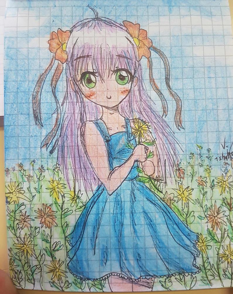 anime girl with flowersmorecrazystuff on deviantart