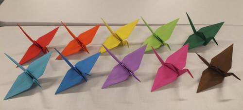 Colorful origami cranes by MusicalArtNinja