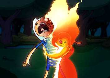 Finn thinks Flame Princess is hot