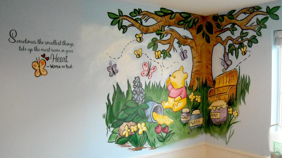 Winnie the pooh mural by ursus327 on deviantart for Baby pooh and friends wall mural