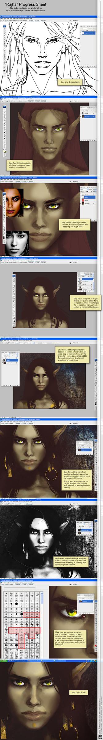 Progress Sheet: Rajha Portrait by NatalieHijazi