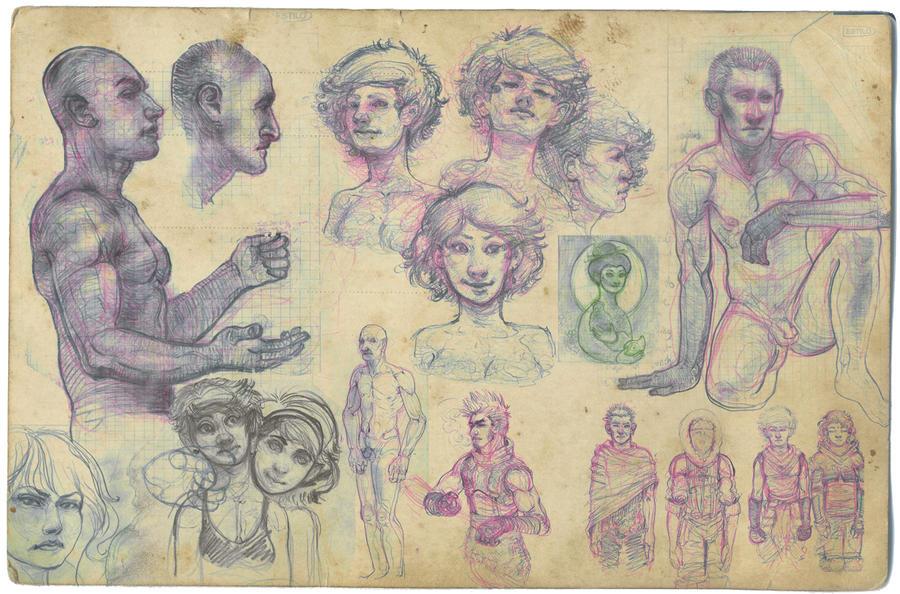 Sept Sketches by Narasura-of-Kashi
