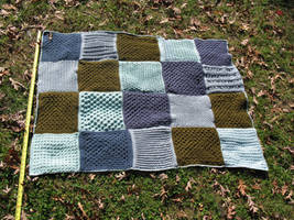 Multi-textured, greens and blues afghan
