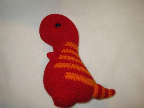 T-rex amigurumi plush - red with orange stripes