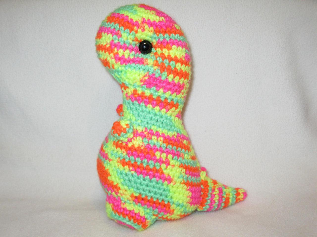 T-rex amigurumi plush - neon multicolored
