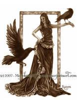 Raven in Sepia by MarjoleinART