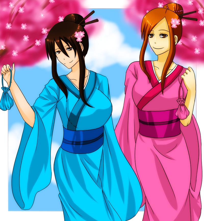 Rei and Fru in kimono by GazeRei
