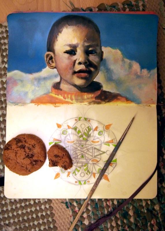 WIP Tibetan boy + cookies by Kaislea
