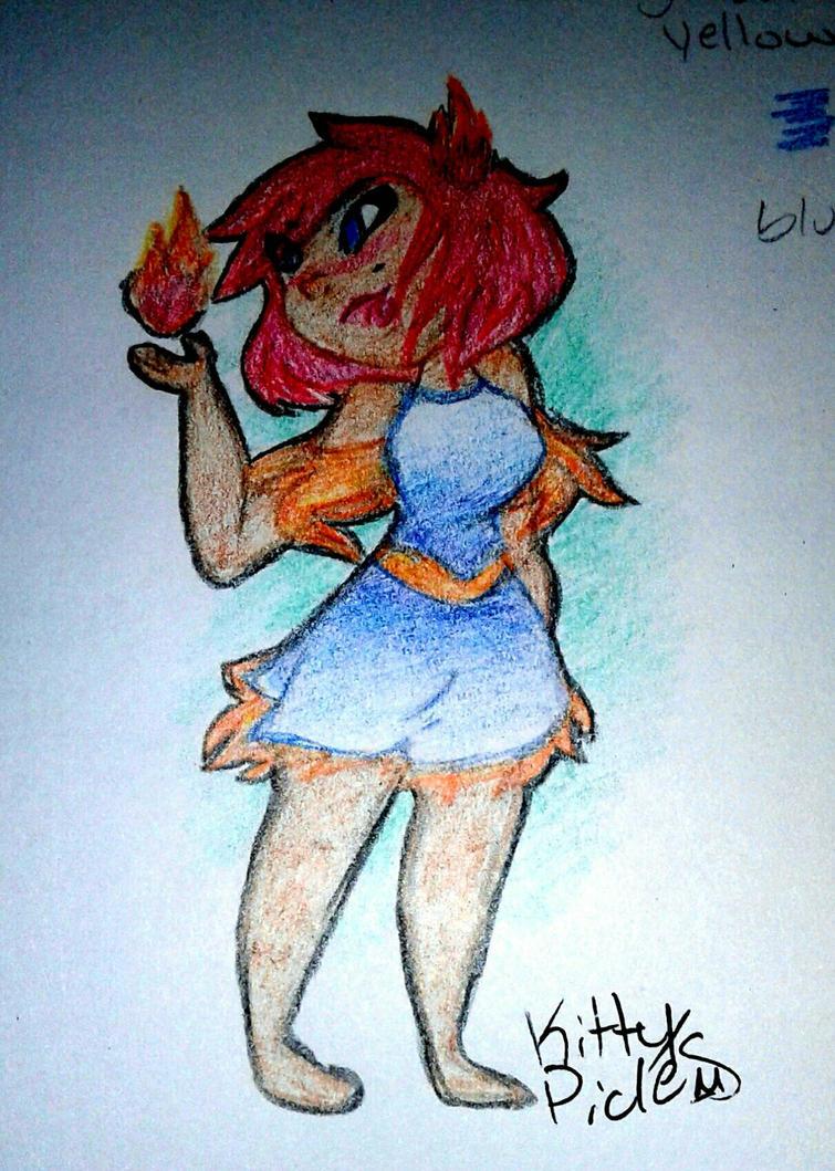fire elemental girl by kittypicles221