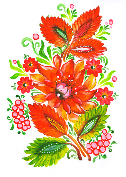 Fire flower -  Ukrainian Folk Art Painting by EkaterinaChernova