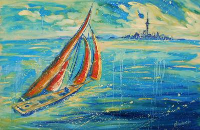 auckland blue orange sail boat painting cityscape by ekaterinachernova on deviantart. Black Bedroom Furniture Sets. Home Design Ideas