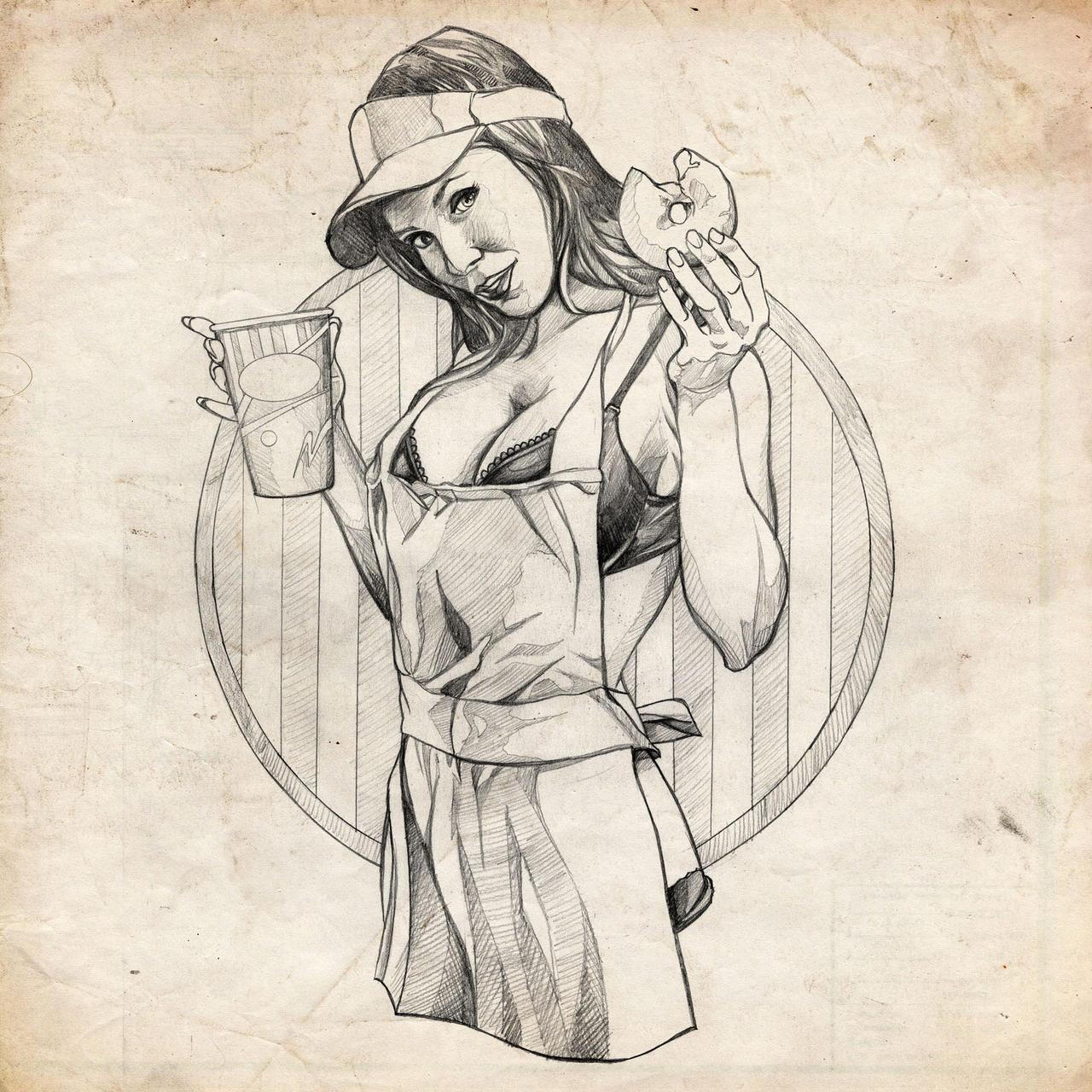 Pin up motorcycle line art jpg -  Coffee Girl Pinup Sketch By Benke33