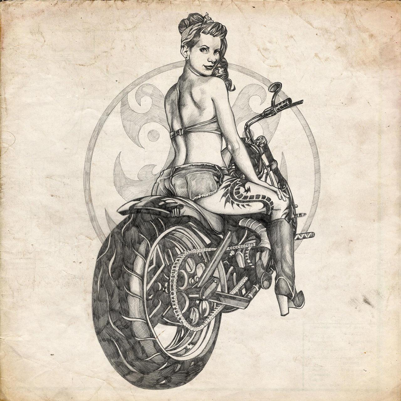 Pin up motorcycle line art jpg - Motorcycle Pinup Girl Sketch By Benke33 Motorcycle Pinup Girl Sketch By Benke33