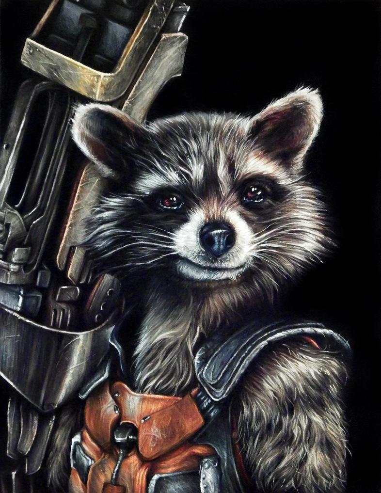 Rocket Racoon Portrait Painting by benke33