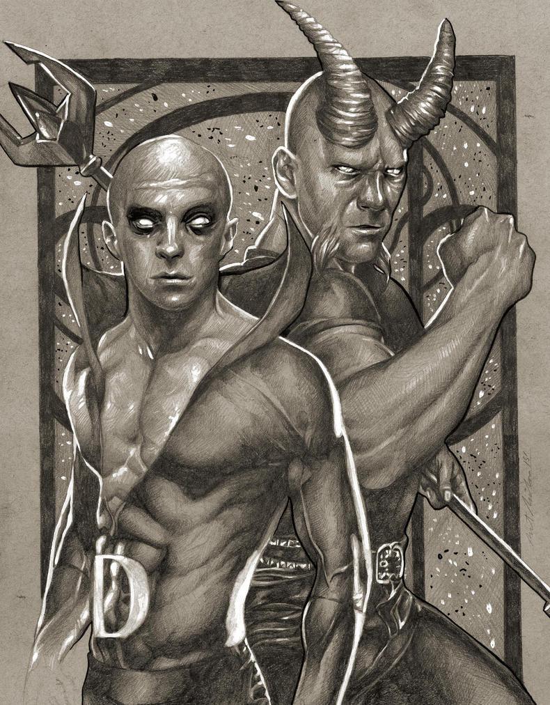 Deadman / Blue Devil Sketch by benke33