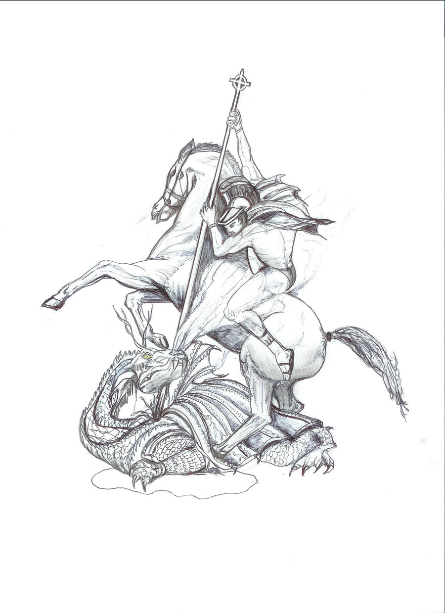 preliminary sketch of saint george and the dragon by sleepy 1 on deviantart. Black Bedroom Furniture Sets. Home Design Ideas