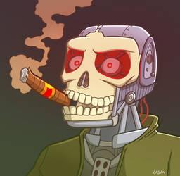 A smoking cyborg