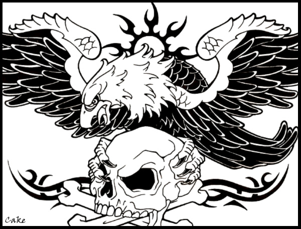 Skull and eagle tattoo design by cakekaiser on deviantart for Skull and eagle tattoo