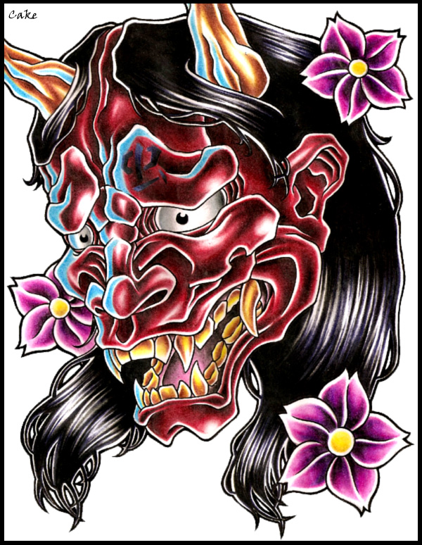 hannya mask tattoo design by cakekaiser on deviantart. Black Bedroom Furniture Sets. Home Design Ideas