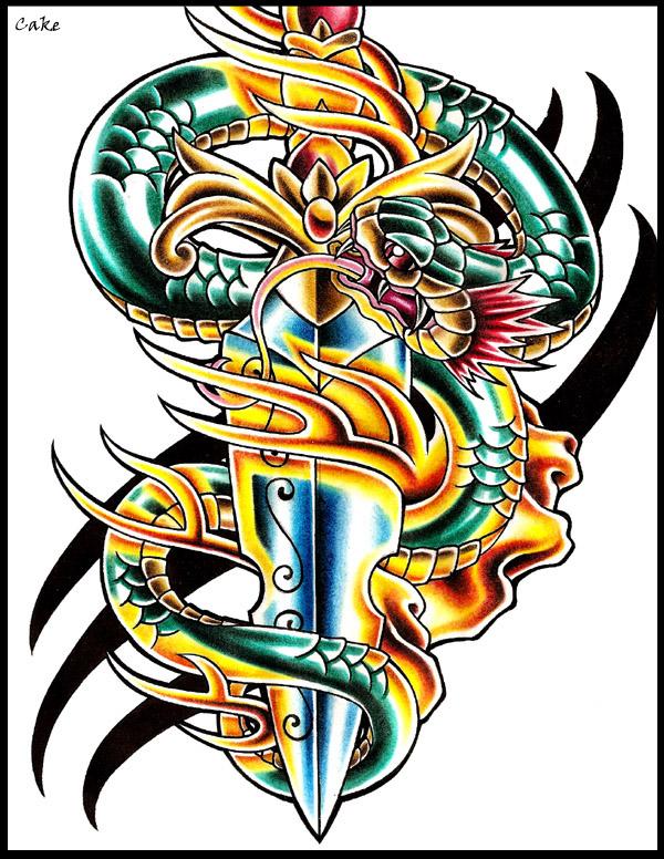 snake dagger tattoo design by cakekaiser on deviantart. Black Bedroom Furniture Sets. Home Design Ideas