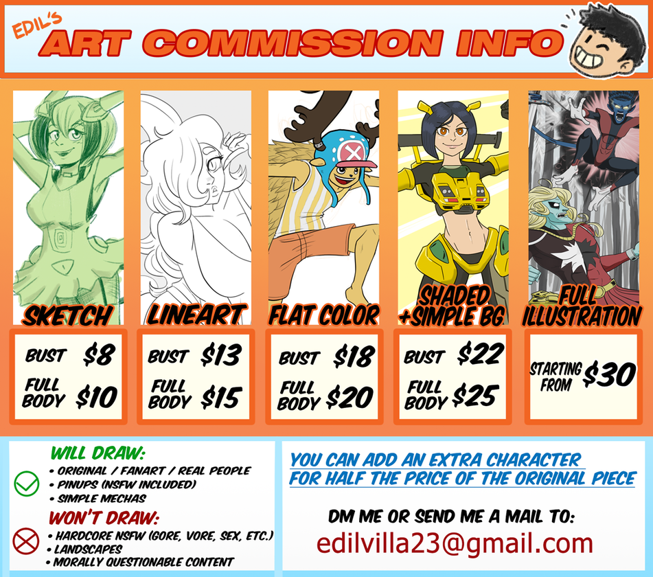 Commissions Summer 2018 - 10 slots open by Edil23